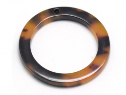 Pendentif anneau 22 mm écaille de tortue en acétate  - 3