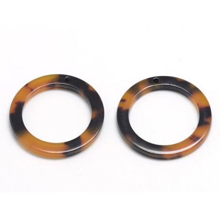 Pendentif anneau 22 mm écaille de tortue en acétate  - 4