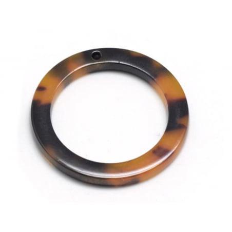 Pendentif anneau 34 mm écaille de tortue en acétate  - 3