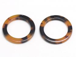 Pendentif anneau 34 mm écaille de tortue en acétate  - 4