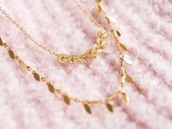 Chaine épis feuilles  - doré à l'or fin 24 K x 20 cm  - 2