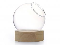 Acheter Vase en verre avec support en bois - boule de 10 cm - 6,99€ en ligne sur La Petite Epicerie - 100% Loisirs créatifs
