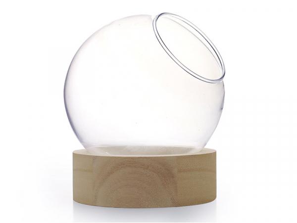 Acheter Vase en verre avec support en bois - boule de 10 cm - 6,99€ en ligne sur La Petite Epicerie - Loisirs créatifs