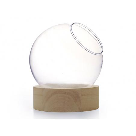 Acheter Vase en verre avec support en bois - boule de 13 cm - 9,99€ en ligne sur La Petite Epicerie - Loisirs créatifs