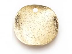 Breloque pampille ronde 12 mm ondulée et martelée  - 1