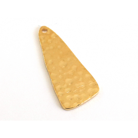 Pendentif martelé triangulaire - doré à l'or fin 18K  - 3
