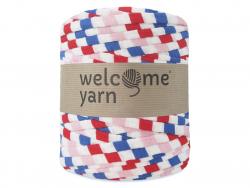 Grande bobine de fil trapilho - rayures rose bonbon, bleu et rouge Welcome Yarn - 1