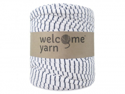 Grande bobine de fil trapilho - rayures bleues foncées et blanches Welcome Yarn - 1