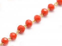 Acheter Chaine laiton avec perles en verre - rouge - 2,99€ en ligne sur La Petite Epicerie - 100% Loisirs créatifs