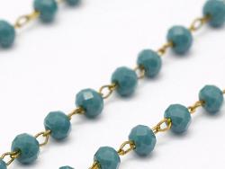 Acheter Chaine laiton avec perles en verre - bleu canard - 2,99€ en ligne sur La Petite Epicerie - 100% Loisirs créatifs