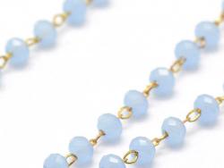 Acheter Chaine laiton avec perles en verre - bleu lavande - 2,99€ en ligne sur La Petite Epicerie - Loisirs créatifs
