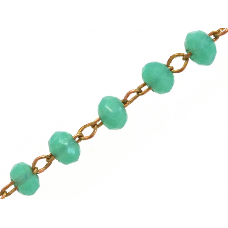Acheter Chaine laiton avec perles en verre - turquoise - 2,99€ en ligne sur La Petite Epicerie - 100% Loisirs créatifs