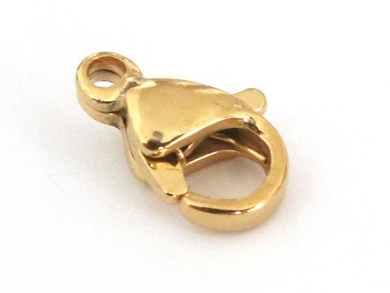 Fermoir mousqueton 11mm - doré à l'or fin  - 1