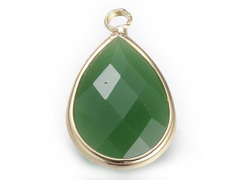 Acheter Pendentif goutte en verre à facettes - vert foncé - 1,09€ en ligne sur La Petite Epicerie - Loisirs créatifs