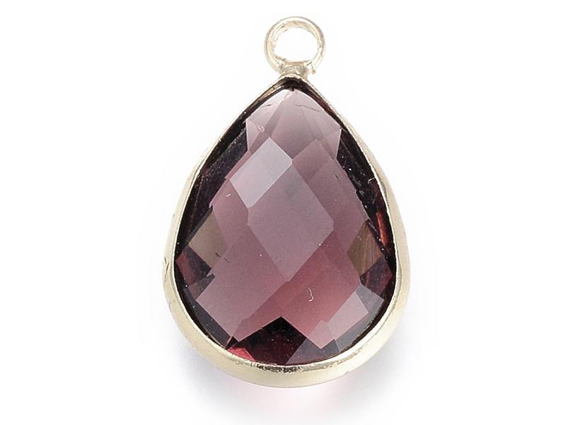 Pendentif goutte en verre à facettes - cristal violet  - 1