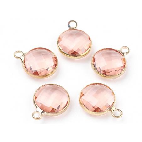Pendentif rond en verre à facettes 10mm - rose cristal  - 3