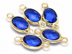 Connecteur ovale à facettes 15mm - bleu  - 2