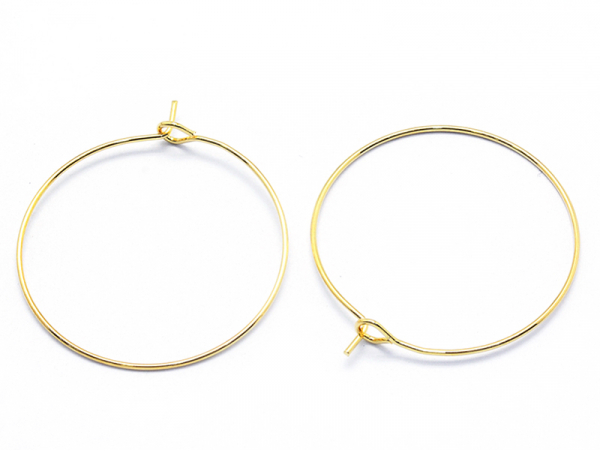 Acheter Boucles d'oreilles créoles 30mm - doré à l'or fin 18K - 1,49€ en ligne sur La Petite Epicerie - 100% Loisirs créatifs