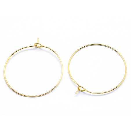 Boucles d'oreilles créoles 30mm - doré à l'or fin 18K  - 1