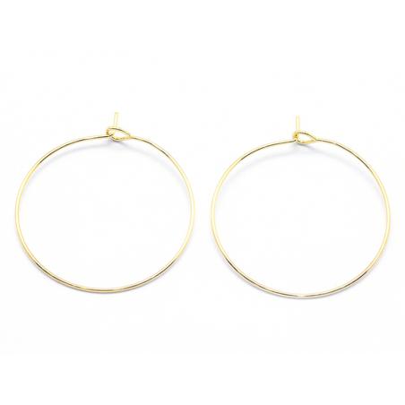 Boucles d'oreilles créoles 30mm - doré à l'or fin 18K  - 2
