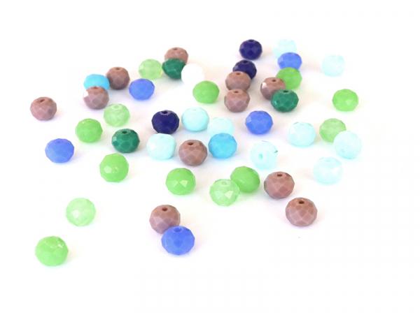 Acheter Lot de 50 perles à facettes en verre 8x6 mm - bleu et vert - 3,19€ en ligne sur La Petite Epicerie - 100% Loisirs cr...