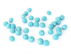 Lot de 50 perles à facettes en verre 4x6 mm - vert d'eau  - 1