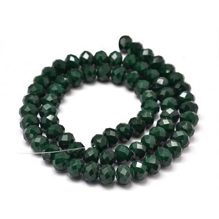 Acheter Lot de 50 perles à facettes en verre 8x6 mm - vert sapin - 3,19€ en ligne sur La Petite Epicerie - 100% Loisirs créa...