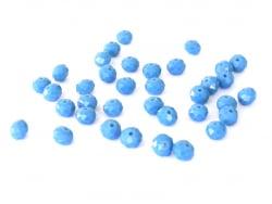 Lot de 50 perles à facettes en verre 8x6 mm - bleu  - 1