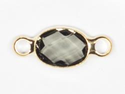 Connecteur ovale à facettes 15mm - cristal gris  - 1