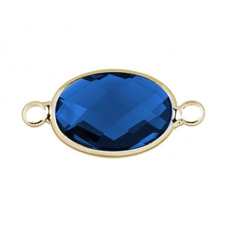 Connecteur ovale à facettes 15mm - bleu  - 3