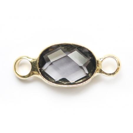 Connecteur ovale à facettes 15mm - cristal gris  - 3