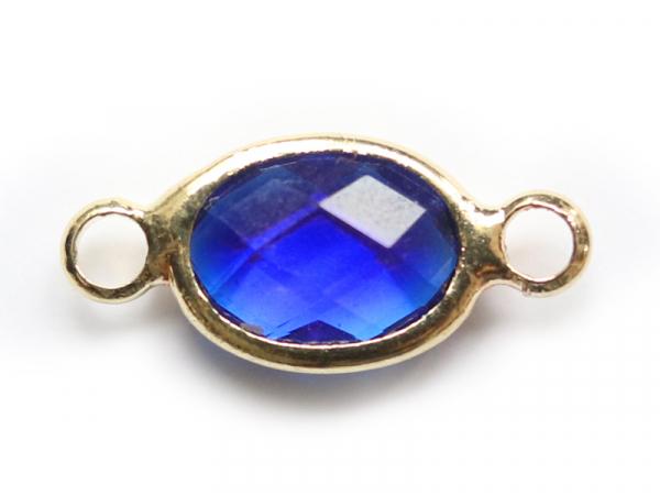 Connecteur ovale à facettes 15mm - bleu  - 1