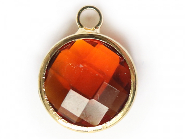 Pendentif rond en verre à facettes 10mm - ambre  - 1