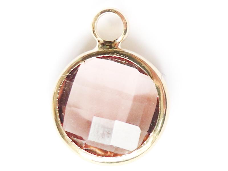 Pendentif rond en verre à facettes 10mm - rose cristal  - 1