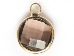 Pendentif rond en verre à facettes 10mm - gris cristal  - 1