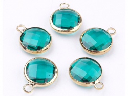 Pendentif rond en verre à facettes 10mm - vert emeraude / bleu canard cristal  - 3