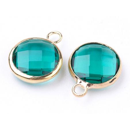 Pendentif rond en verre à facettes 10mm - vert emeraude / bleu canard cristal  - 4