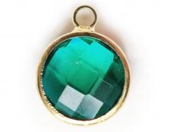 Acheter Pendentif rond en verre à facettes 10mm - vert emeraude / bleu canard cristal - 1,49€ en ligne sur La Petite Epiceri...