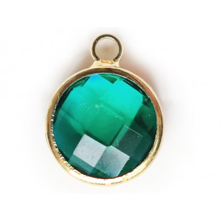 Pendentif rond en verre à facettes 10mm - vert emeraude / bleu canard cristal  - 1