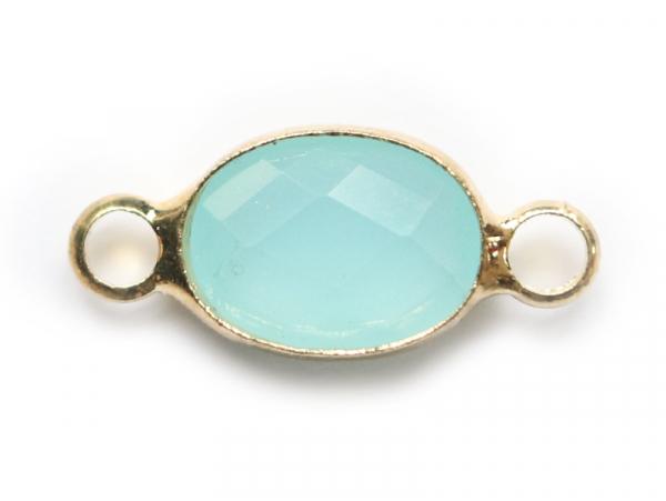 Connecteur ovale à facettes 15mm - bleu clair  - 1