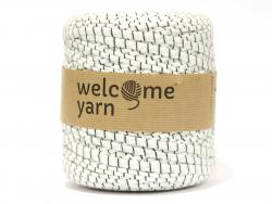 Grande bobine de fil trapilho - rayures noires et blanches - motifs fleurs Welcome Yarn - 1