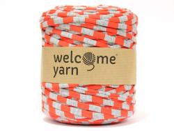 Grande bobine de fil trapilho - rayures rouge et grises Welcome Yarn - 1