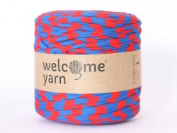 Grande bobine de fil trapilho - rayures bleues et rouges Welcome Yarn - 1