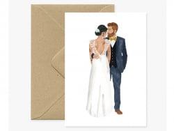 Carte aquarelle - Les mariés