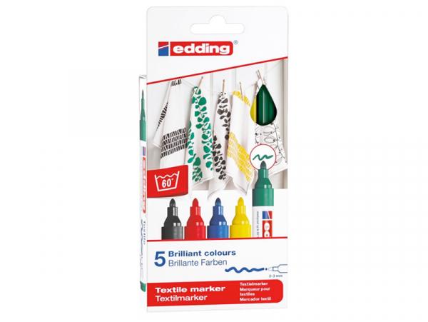 Acheter Lot de 5 marqueurs textiles - pointe 2-3mm - couleurs assorties - 9,49€ en ligne sur La Petite Epicerie - Loisirs cr...