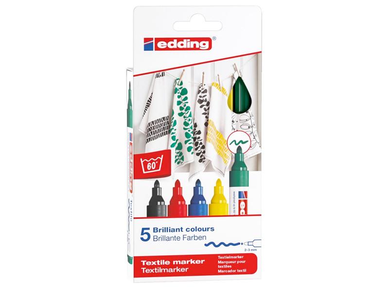 Acheter Lot de 5 marqueurs textiles - pointe 2-3mm - couleurs assorties - 9,49€ en ligne sur La Petite Epicerie - 100% Loisi...