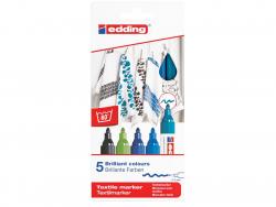 Acheter Lot de 5 marqueurs textiles - pointe 2-3mm - couleurs froides - 9,49€ en ligne sur La Petite Epicerie - 100% Loisirs...