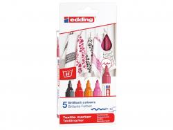 Acheter Lot de 5 marqueurs textiles - pointe 2-3mm - couleurs chaudes - 9,49€ en ligne sur La Petite Epicerie - 100% Loisirs...