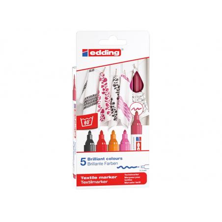 Acheter Lot de 5 marqueurs textiles - pointe 2-3mm - couleurs chaudes - 9,49€ en ligne sur La Petite Epicerie - Loisirs créa...