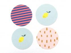 Acheter Lot de 4 étiquettes autocollantes - citrons, rayures et traits - 0,49€ en ligne sur La Petite Epicerie - Loisirs cré...